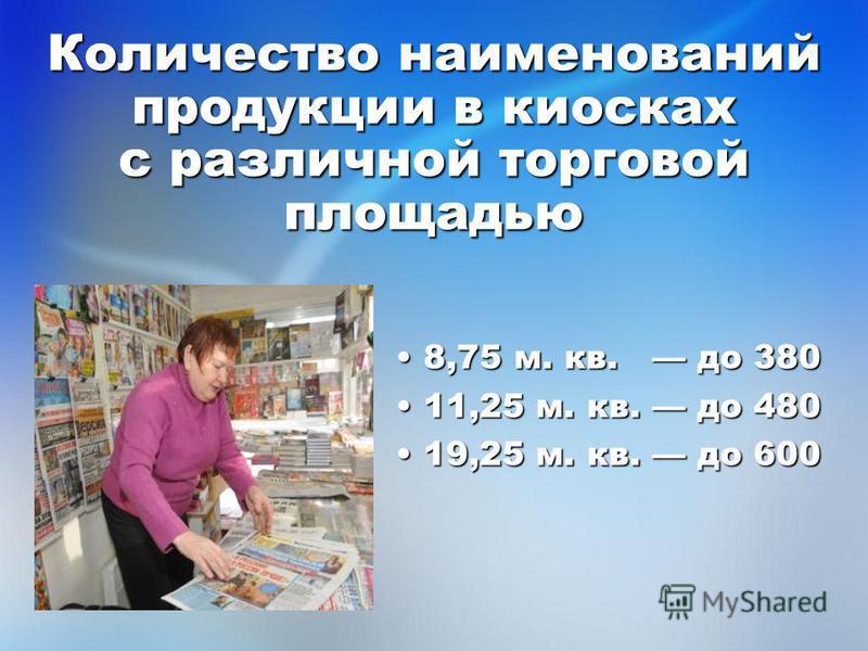 Количество наименований продукции в киосках с различной торговой площадью 8,75 м. кв. до 380 8,75 м. кв. до 380 11,25 м. кв. до 480 11,25 м. кв. до 480 19,25 м. кв. до 600 19,25 м. кв. до 600