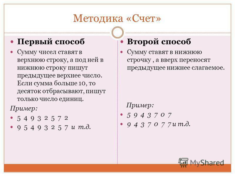 Методика «Счет» Первый способ Сумму чисел ставят в верхнюю строку, а под ней в нижнюю строку пишут предыдущее верхнее число. Если сумма больше 10, то десяток отбрасывают, пишут только число единиц. Пример: 5 4 9 3 2 5 7 2 9 5 4 9 3 2 5 7 и т.д. Второ