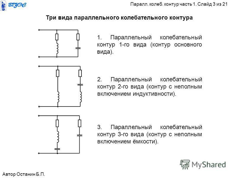 1. Параллельный калебательный контур 1-го вида (контур основного вида). 2. Параллельный калебательный контур 2-го вида (контур с неполным включением индуктивности). 3. Параллельный калебательный контур 3-го вида (контур с неполным включением ёмкости)