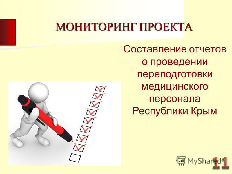 МОНИТОРИНГ ПРОЕКТА Составление отчетов о проведении переподготовки медицинского персонала Республики Крым