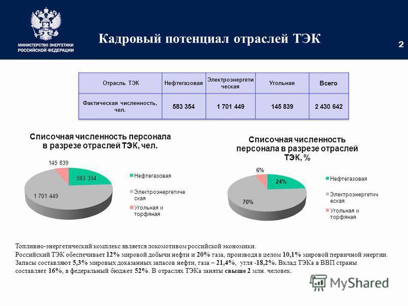 Кадровый потенциал отраслей ТЭК Топливно-энергетический комплекс является локомотивом российской экономики. Российский ТЭК обеспечивает 12% мировой добычи нефти и 20% газа, производя в целом 10,1% мировой первичной энергии. Запасы составляют 5,3% мир