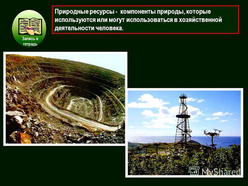 Природные ресурсы - компоненты природы, которые используются или могут использоваться в хозяйственной деятельности человека.
