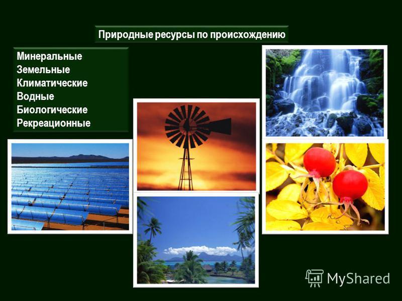 Природные ресурсы по происхождению Минеральные Земельные Климатические Водные Биологические Рекреационные Минеральные Земельные Климатические Водные Биологические Рекреационные