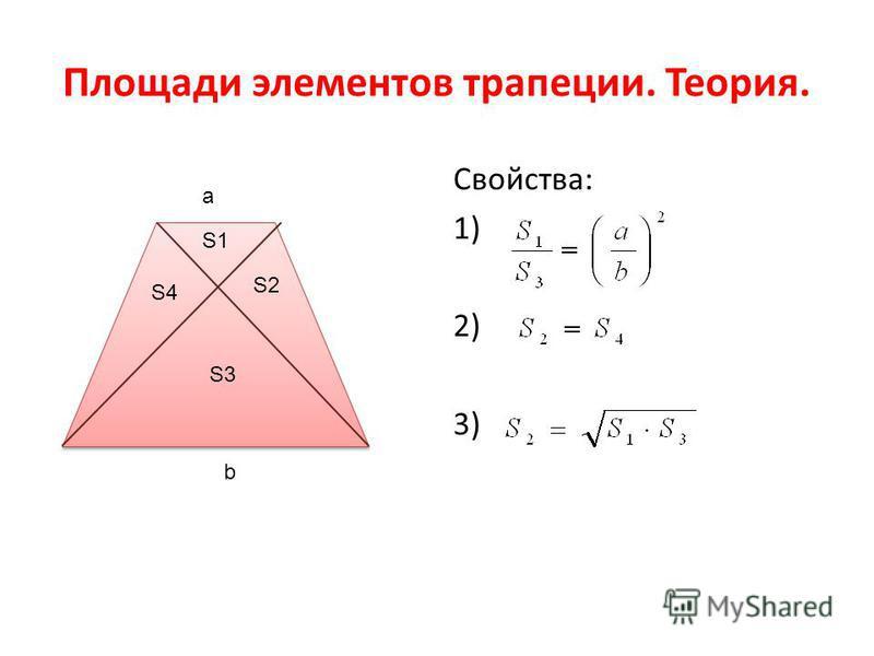 Площади элементов трапеции. Теория. Свойства: 1) 2) 3) S1 S2 S3 S4 a b