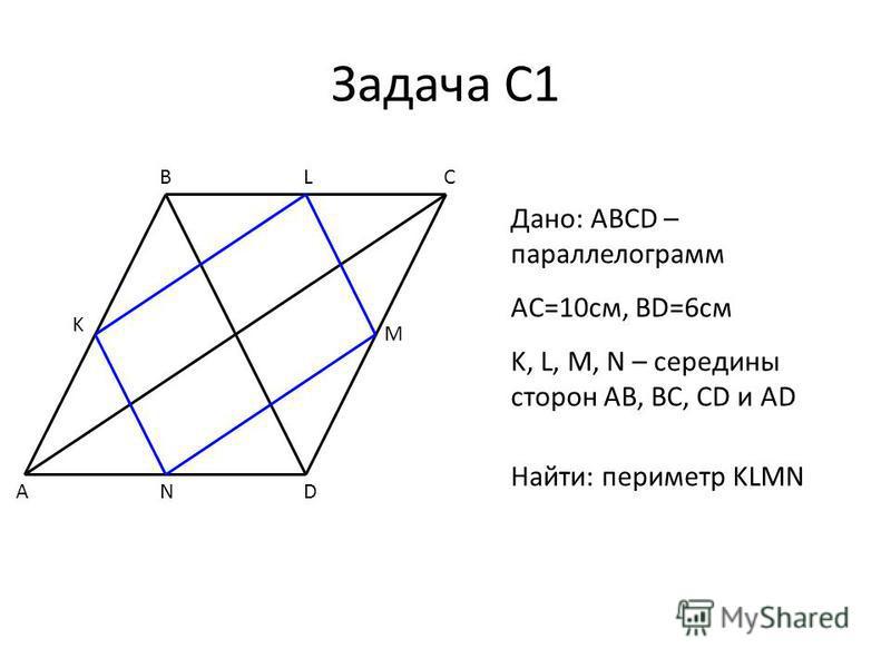 Задача С1 A BC D M N K Дано: ABCD – параллелограмм AC=10 см, BD=6 см K, L, M, N – середины сторон AB, BC, CD и AD Найти: периметр KLMN L