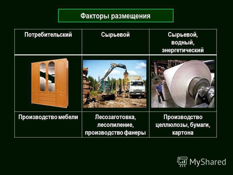 Факторы размещения Потребительский СырьевойСырьевой, водный, энергетический Производство мебели Лесозаготовка, лесопиление, производство фанеры Производство целлюлозы, бумаги, картона