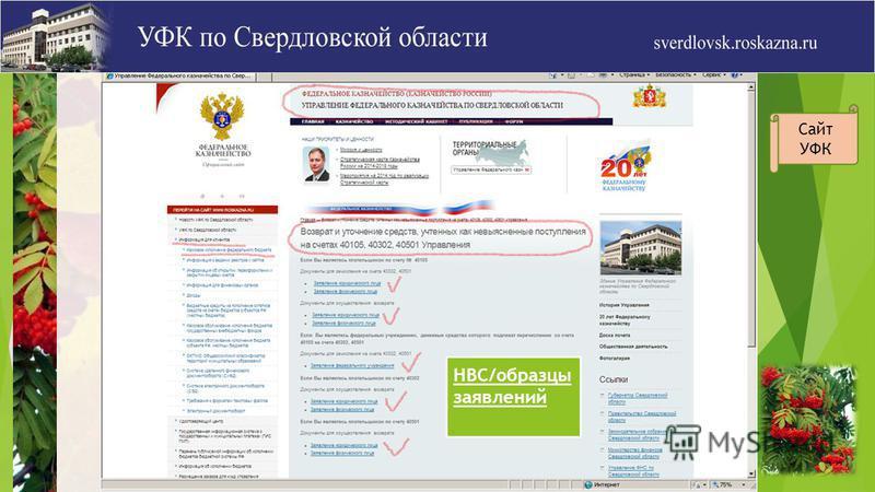 НВС/образцы заявлений Сайт УФК