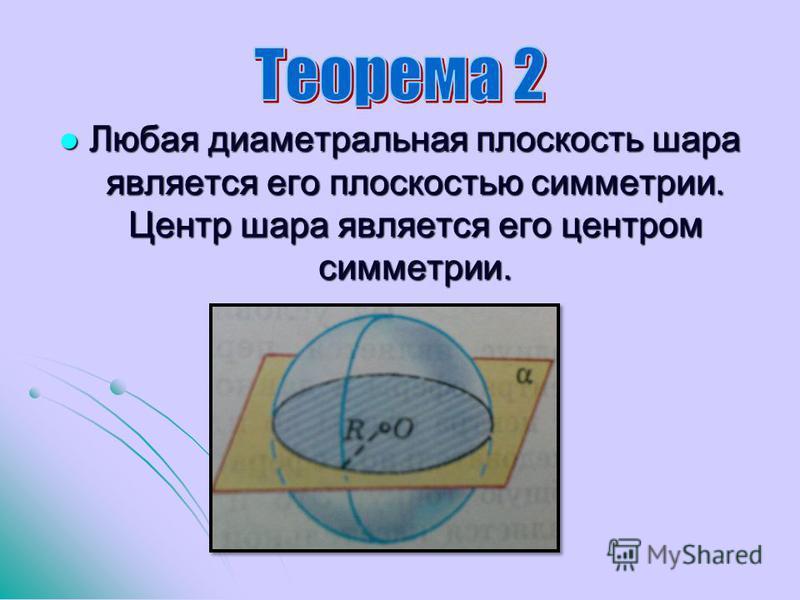 Любая диаметральная плоскость шара является его плоскостью симметрии. Центр шара является его центром симметрии. Любая диаметральная плоскость шара является его плоскостью симметрии. Центр шара является его центром симметрии.