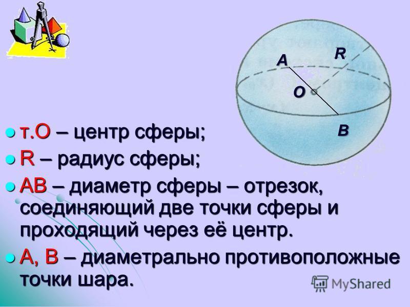 т.О – центр сферы; т.О – центр сферы; R – радиус сферы; R – радиус сферы; АВ – диаметр сферы – отрезок, соединяющий две точки сферы и проходящий через её центр. АВ – диаметр сферы – отрезок, соединяющий две точки сферы и проходящий через её центр. А,