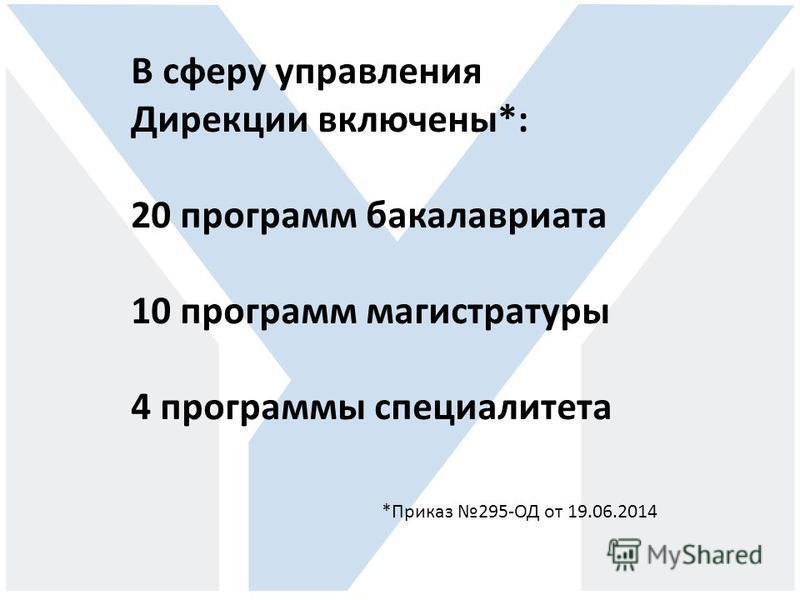 В сферу управления Дирекции включены*: 20 программ бакалавриата 10 программ магистратуры 4 программы специалитета *Приказ 295-ОД от 19.06.2014