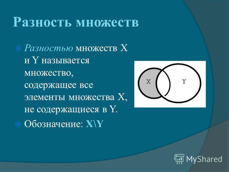 Разность множеств Разностью множеств X и Y называется множество, содержащее все элементы множества X, не содержащиеся в Y. Обозначение: X\Y