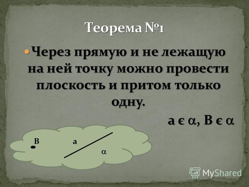 Через прямую и не лежащую на ней точку можно провести плоскость и притом только одну. Через прямую и не лежащую на ней точку можно провести плоскость и притом только одну. a є, B є a є, B є B a