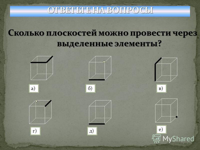 Сколько плоскостей можно провести через выделенные элементы? а)б)в) г)д) е)