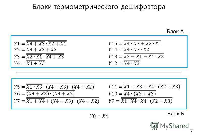 Блок А Блок Б 7 Блоки термометрического дешифратора