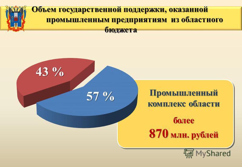 Промышленный комплекс области более 870 млн. рублей Промышленный комплекс области более 870 млн. рублей 43 % 57 % Объем государственной поддержки, оказанной Объем государственной поддержки, оказанной промышленным предприятиям из областного бюджета пр