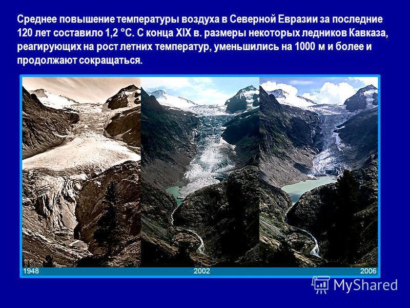 Среднее повышение температуры воздуха в Северной Евразии за последние 120 лет составило 1,2 °С. С конца XIX в. размеры некоторых ледников Кавказа, реагирующих на рост летних температур, уменьшились на 1000 м и более и продолжают сокращаться.