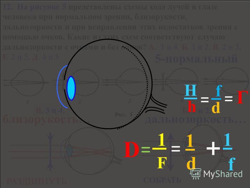 F F Д Д = 123 Д 4 4 - нет 5 М 5 - лупа 3 - проектор 1 - фотоаппарат F 1 = 1 d + f 1 D = d f 11. Оптические приборы в микроскопе? В. L F F 1 = 1 d + f 1 D = h H = f d = Г Оптические приборы.