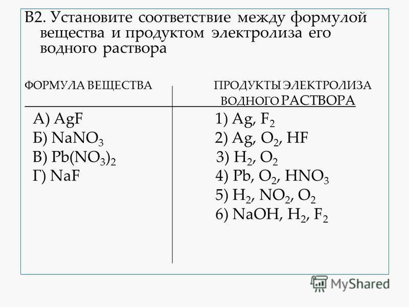 В2. Установите соответствие между формулой вещества и продуктом электролиза его водного раствора ФОРМУЛА ВЕЩЕСТВА ПРОДУКТЫ ЭЛЕКТРОЛИЗА ВОДНОГО РАСТВОРА А) AgF 1) Ag, F 2 Б) NaNO 3 2) Ag, O 2, HF B) Pb(NO 3 ) 2 3) H 2, O 2 Г) NaF 4) Pb, O 2, HNO 3 5)
