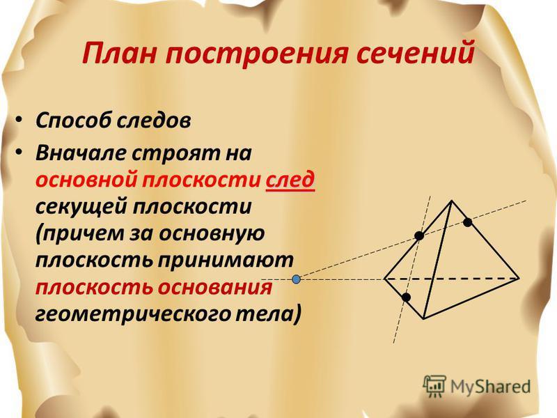 План построения сечений Способ следов след Вначале строят на основной плоскости след секущей плоскости (причем за основную плоскость принимают плоскость основания геометрического тела)