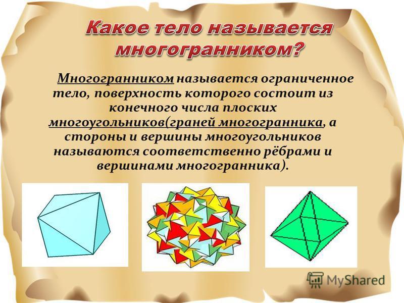 Многогранником называется ограниченное тело, поверхность которого состоит из конечного числа плоских многоугольников(граней многогранника, а стороны и вершины многоугольников называются соответственно рёбрами и вершинами многогранника).