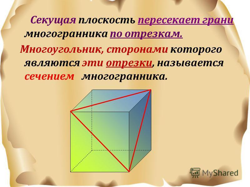 Секущая плоскость пересекает грани многогранника по отрезкам. Многоугольник, сторонами которого являются эти отрезки, называется сечением многогранника.