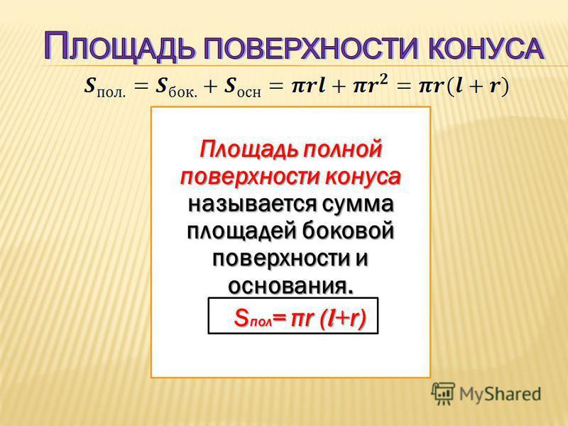 Площадь полной поверхности конуса называется сумма площадей боковой поверхности и основания. S пол = πr ( l+ r) S пол = πr ( l+ r)