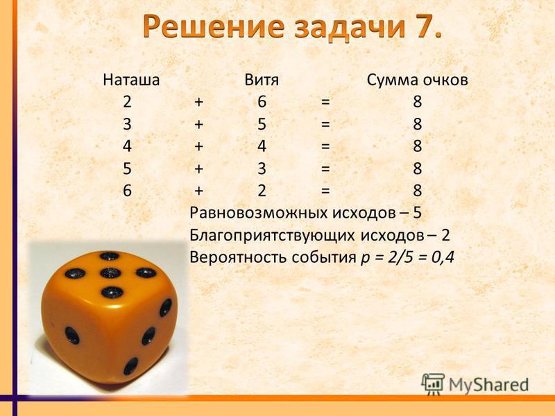 Наташа Витя Сумма очков 2 + 6 = 8 3 + 5 = 8 4 + 4 = 8 5 + 3 = 8 6 + 2 = 8 Равновозможных исходов – 5 Благоприятствующих исходов – 2 Вероятность события р = 2/5 = 0,4