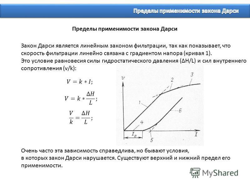 Закон Дарси является линейным законом фильтрации, так как показывает, что скорость фильтрации линейно связана с градиентом напора (кривая 1). Это условие равновесия силы гидростатического давления (H/L) и сил внутреннего сопротивления (v/k): Очень ча