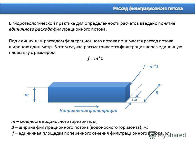 В гидрогеологической практике для определённости расчётов введено понятие единичного расхода фильтрационного потока. Под единичным расходом фильтрационного потока понимается расход потока шириною один метр. В этом случае рассматривается фильтрация че