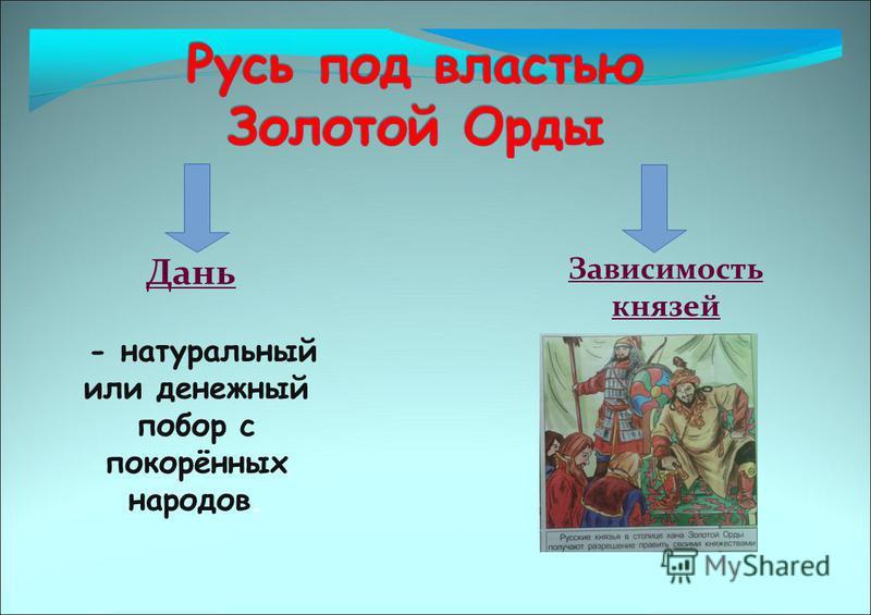 Зависимость князей Дань - натуральный или денежный побор с покорённых народов.