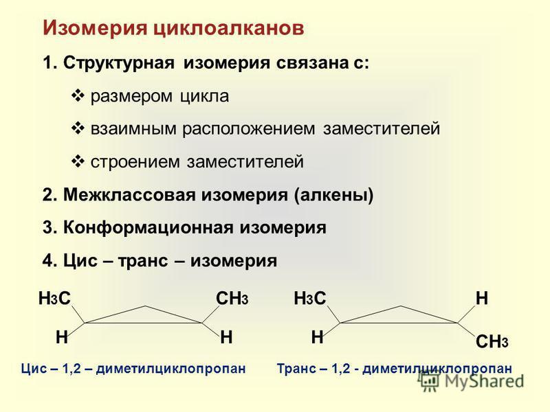 Изомерия циклоалканов 1. Структурная изомерия связана с: размером цикла взаимным расположением заместителей строением заместителей 2. Межклассовая изомерия (алкены) 3. Конформационная изомерия 4. Цис – транс – изомерия H3СH3ССH3СH3 HH H3СH3С СH3СH3 H