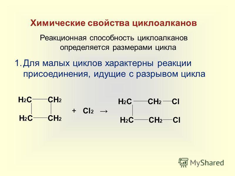 Химические свойства циклоалканов Реакционная способность циклоалканов определяется размерами цикла 1. Для малых циклов характерны реакции присоединения, идущие с разрывом цикла CH 2 H2CH2C H2CH2C + Cl 2 CH 2 H2CH2C H2CH2CCl