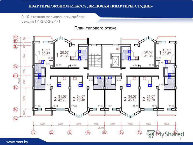 www.mas.by КВАРТИРЫ ЭКОНОМ-КЛАССА, ВКЛЮЧАЯ «КВАРТИРЫ-СТУДИИ» 9-10-этажная меридиональная блок- секция 1-1-2-2-2-2-1-1 План типового этажа 7