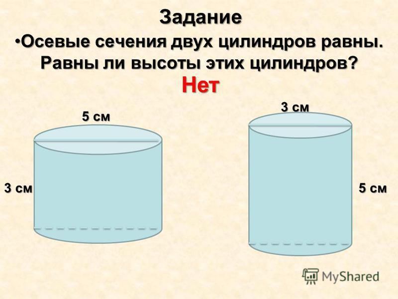 Задание Осевые сечения двух цилиндров равны. Равны ли высоты этих цилиндров?Осевые сечения двух цилиндров равны. Равны ли высоты этих цилиндров? Нет 5 см 3 см 5 см 3 см