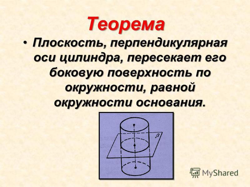 Теорема Плоскость, перпендикулярная оси цилиндра, пересекает его боковую поверхность по окружности, равной окружности основания.Плоскость, перпендикулярная оси цилиндра, пересекает его боковую поверхность по окружности, равной окружности основания.