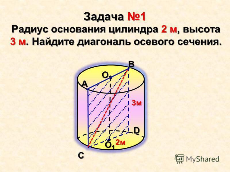 Задача 1 Радиус основания цилиндра 2 м, высота 3 м. Найдите диагональ осевого сечения.