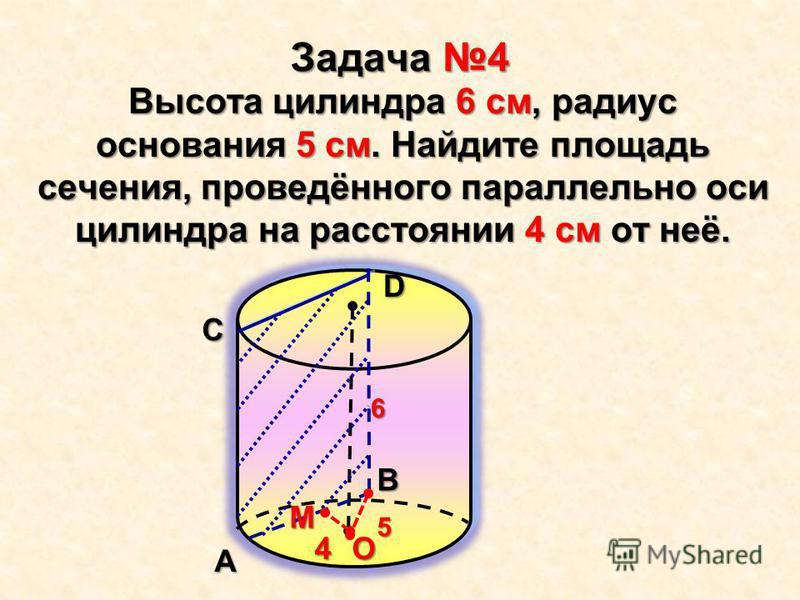 Задача 4 Высота цилиндра 6 см, радиус основания 5 см. Найдите площадь сечения, проведённого параллельно оси цилиндра на расстоянии 4 см от неё.