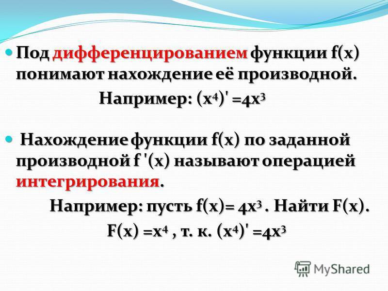 Под дифференцированием функции f(x) понимают нахождение её производной. Под дифференцированием функции f(x) понимают нахождение её производной. Например: (х 4 )' =4 х 3 Например: (х 4 )' =4 х 3 Нахождение функции f(x) по заданной производной f '(x) н