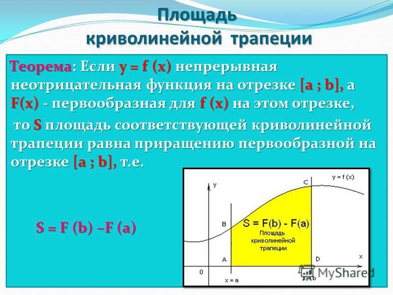Площадь криволинейной трапеции Теорема: Если у = f (x) непрерывная неотрицательная функция на отрезке [a ; b], а F(x) - первообразная для f (x) на этом отрезке, то S площадь соответствующей криволинейной трапеции равна приращению первообразной на отр