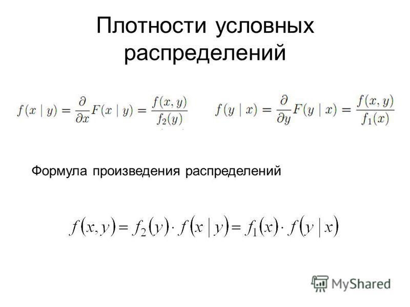 Плотности условных распределений Формула произведения распределений