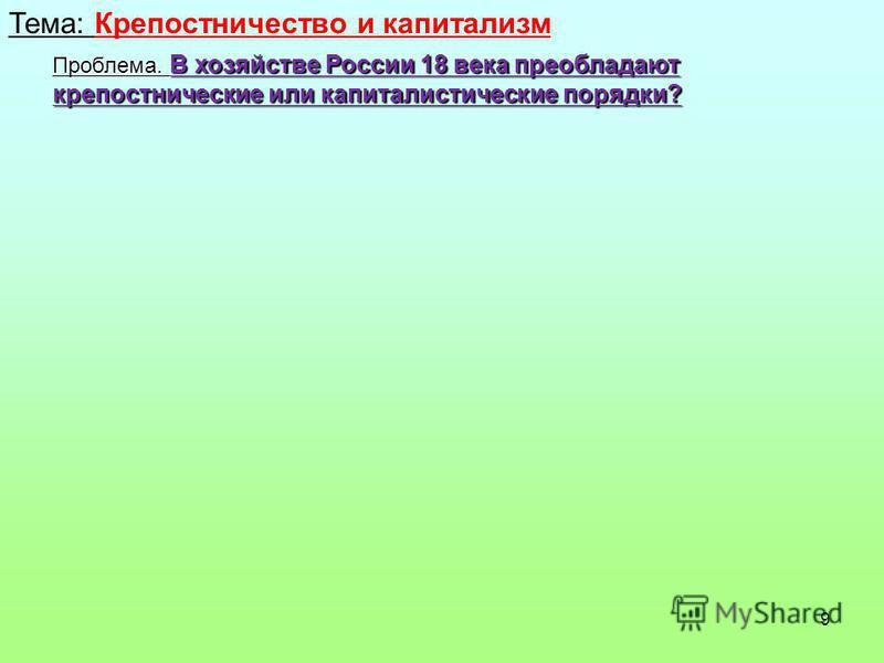 9 Тема: Крепостничество и капитализм Проблема. В хозяйстве России 18 века преобладают крепостнические или капиталистические порядки?