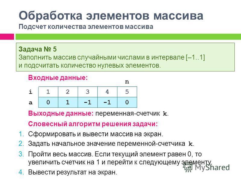Обработка элементов массива Подсчет количества элементов массива Входные данные: Выходные данные: переменная-счетчик k. Словесный алгоритм решения задачи: 1. Сформировать и вывести массив на экран. 2. Задать начальное значение переменной-счетчика k.