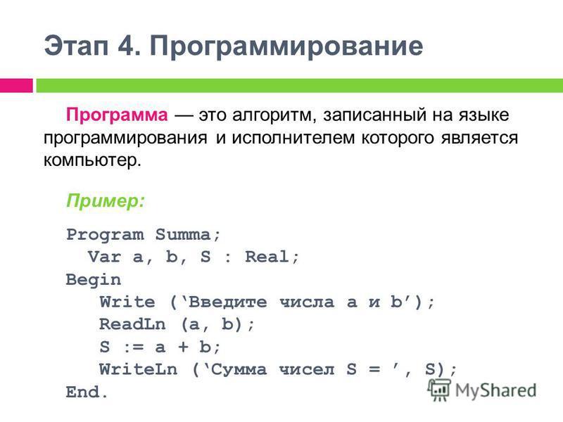 Этап 4. Программирование Программа это алгоритм, записанный на языке программирования и исполнителем которого является компьютер. Пример: Program Summa; Var a, b, S : Real; Begin Write (Введите числа a и b); ReadLn (a, b); S := a + b; WriteLn (Сумма