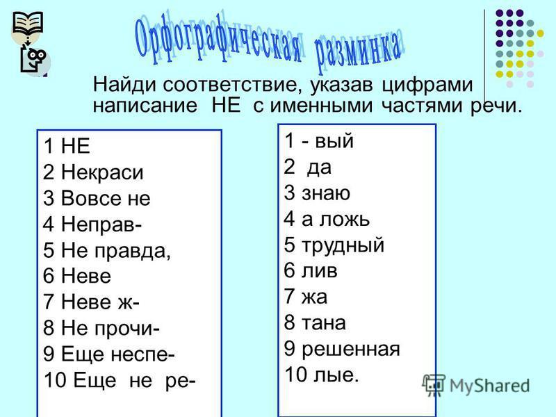 I. Найди соответствие, указав цифрами написание НЕ с именными частями речи. 1 НЕ 2 Некраси 3 Вовсе не 4 Неправ- 5 Не правда, 6 Неве 7 Неве ж- 8 Не проси- 9 Еще не спи- 10 Еще не ре- 1 - вый 2 да 3 знаю 4 а ложь 5 трудный 6 лив 7 за 8 тана 9 решенная