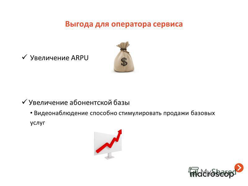 Выгода для оператора сервиса Увеличение ARPU Увеличение абонентской базы Видеонаблюдение способно стимулировать продажи базовых услуг
