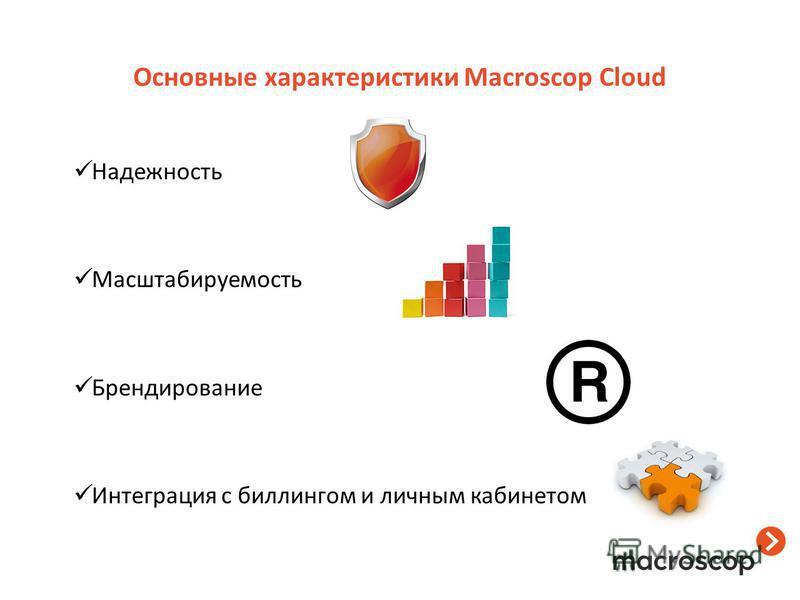 Надежность Масштабируемость Брендирование Интеграция с биллингом и личным кабинетом Основные характеристики Macroscop Cloud