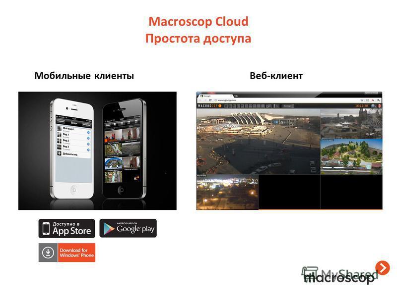 Macroscop Cloud Простота доступа Веб-клиент Мобильные клиенты