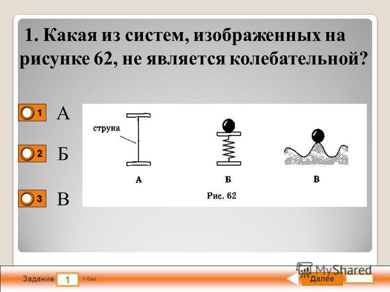 Далее 1 Задание 1 бал. 1111 2222 3333 1. Какая из систем, изображенных на рисунке 62, не является колебательной? А Б В