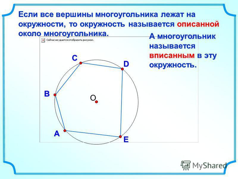 О D В С Если все вершины многоугольника лежат на окружности, то окружность называется описанной около многоугольника. А E А многоугольник называется вписанным в эту окружность.
