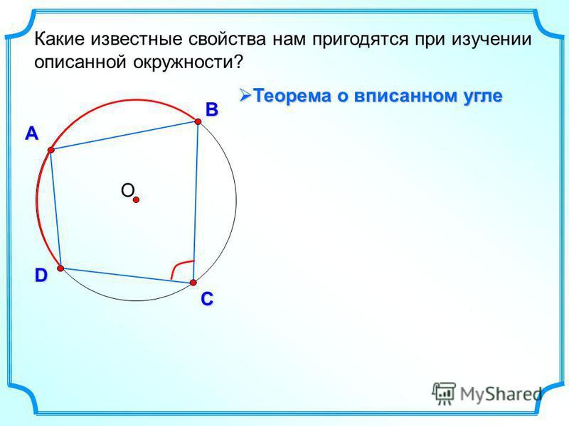 О А В D С Какие известные свойства нам пригодятся при изучении описанной окружности? Теорема о вписанном угле Теорема о вписанном угле